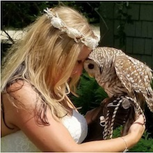 Wendy Pavlicek with her Barred Owl