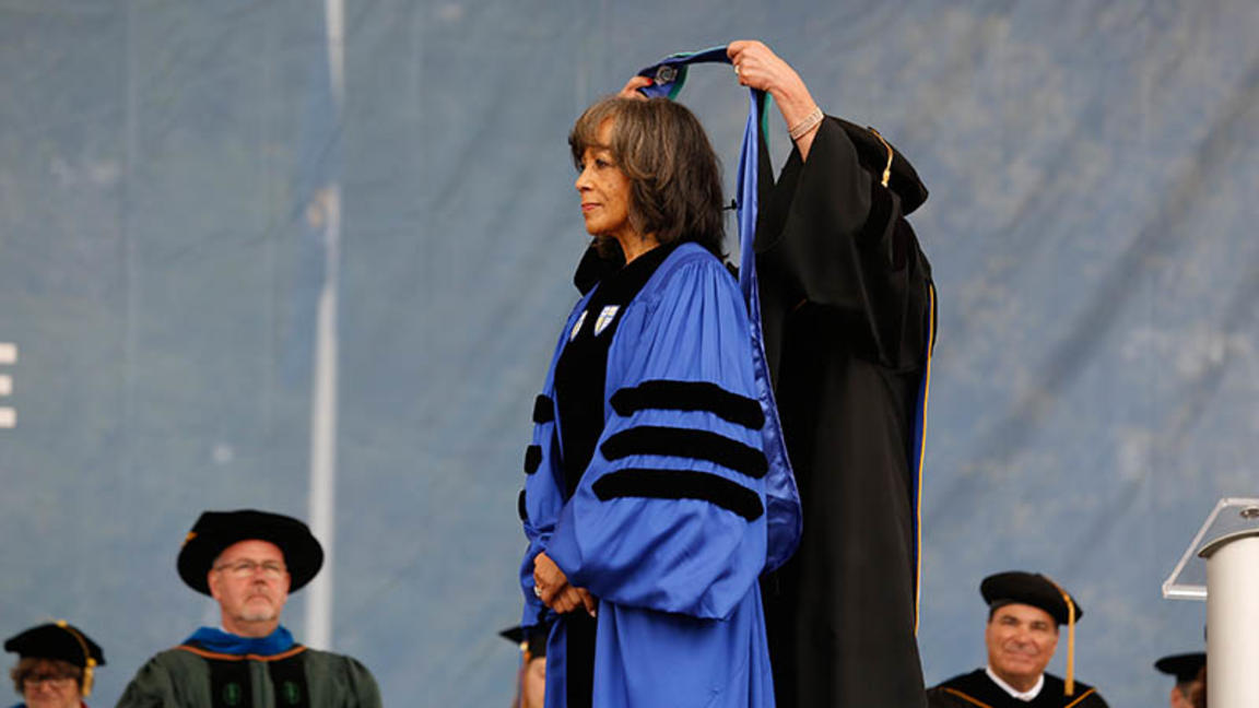 President Jackson receiving honorary degree