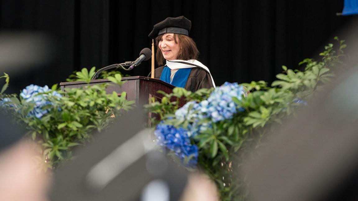 Jackie Bezos speaks at Cambridge College's 2019 commencement ceremony